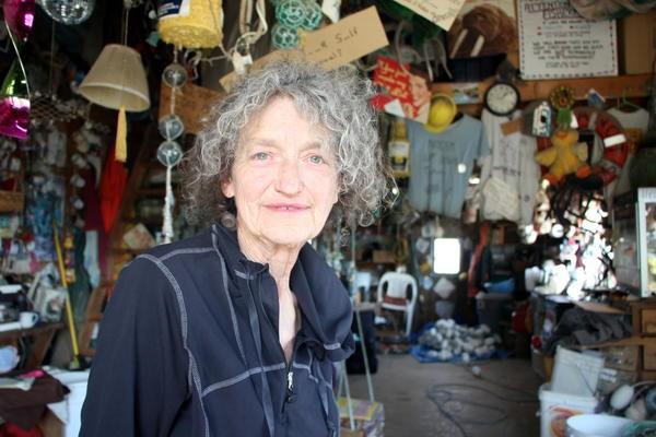 Marcia Dale, owner, net-hanger, and part-time counselor at Watzituya net shop in Naknek. Credit Hannah Colton/KDLG