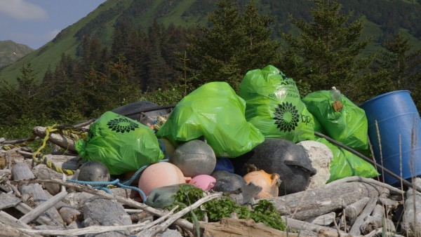 """Super-sacks"" wait for pickup. Photo: Hanna Craig, Alaska Public Media."