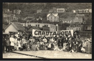 """School Children's 'Chautauqua' Demonstration"" in Juneau, Sept. 21, 1921. (Alaska State Library, David & Mary Waggoner Photographs & Papers, 1900-1940, Winter & Pond, ASL-PCA-492)"