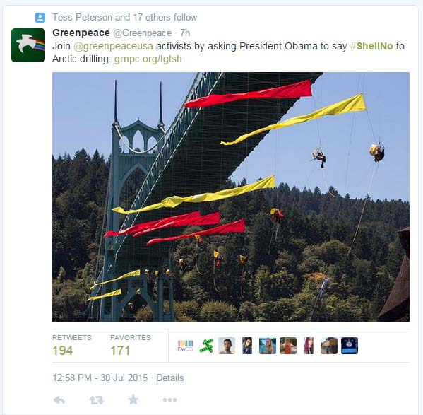 Greenpeace is being fined $2,500 per hour the hanging protesters impede Shell's Fennica vessel.