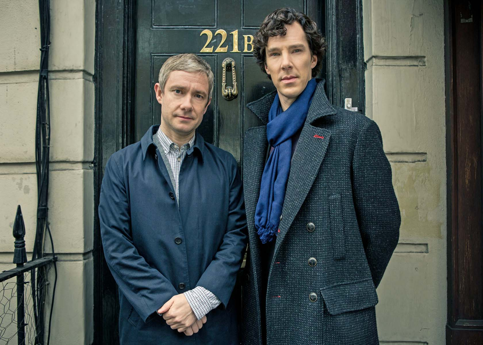 Shown from L-R: Martin Freeman as Dr. John Watson and Benedict Cumberbatch as Sherlock Holmes (Photo Courtesy of Robert Viglasky/Hartswood Films for MASTERPIECE)