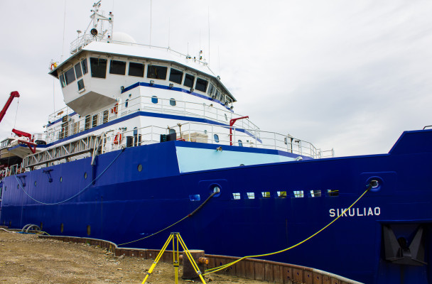 The research vessel Sikuliaq will work in the Chukchi and Beaufort Seas through November. (Photo by Emily Russell, KNOM - Nome)