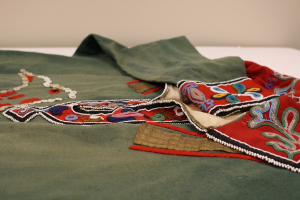Sealaska Heritage Institute is looking for the tribe this tunic belongs to. (Photo by Elizabeth Jenkins/KTOO)