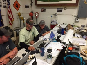 Sam Amato (middle) and Risa Lange-Navarro (right) at work in the Galena Command Post for the Northern Rockies Fire Management Team.