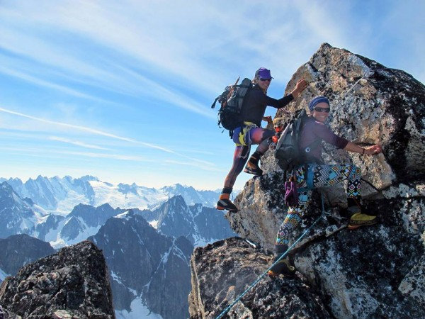 Jenn Walsh and Jessica Kayser Forster summit Mt. Emmerich. (Credit: Kevin Forster)