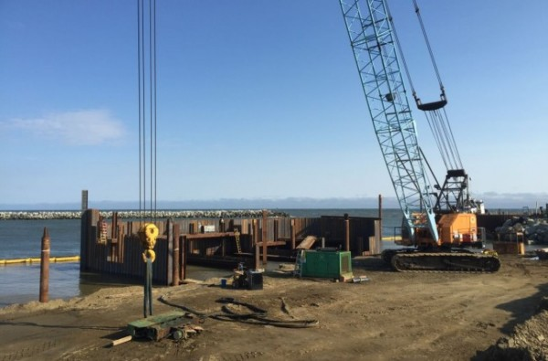 Construction of the Port of Nome's Middle Dock continues to progress. (Photo by Matthew Smith, KNOM)