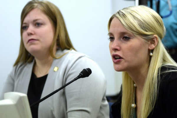 Erin Merryn, a victim of sexual abuse as a child, testified in the House Education Committee on House Bill 233, the version of Erin's law first introduced by Rep. Geran Tarr in 2014. (Photo by Skip Gray/Gavel Alaska)