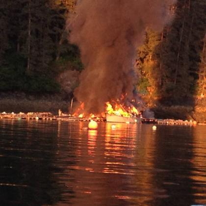Fire in Little Jakolof Bay - Photo courtesy of Jan Flora