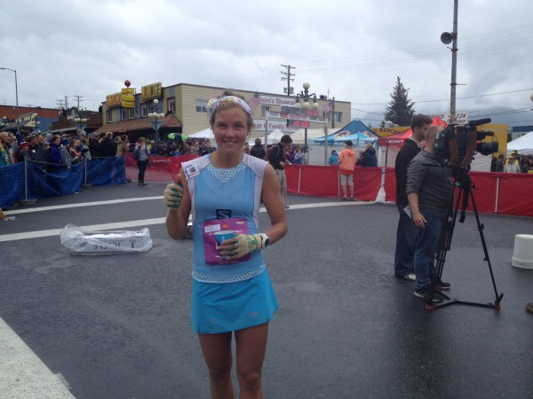 Emelie Forsberg celebrates her Mount Marathon record. Photo credit: Annie Feidt