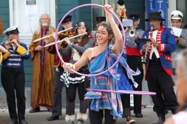 "A New Old Time Chautauqua performer in the streets of Wrangell, June 26. (Photo courtesy Zachary ""Skip"" Waddell/New Old Time Chautauqua)"