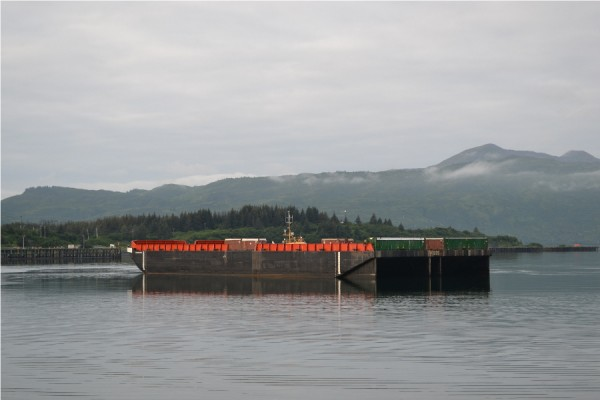 Barge in Kodiak, without bags. Photo by Candice Bressler