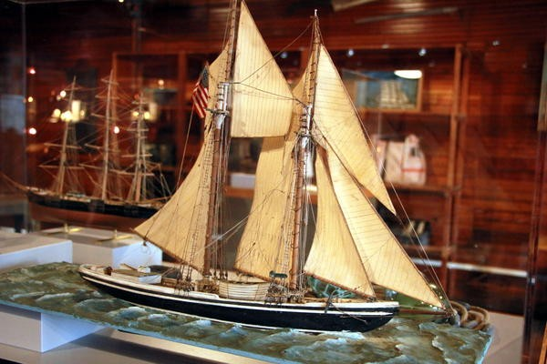 Several intricate model sailing schooners are on display. Credit Hannah Colton/KDLG