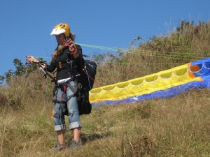 Outdoor Explorer producer Monica Gokey gets ready for take-off.