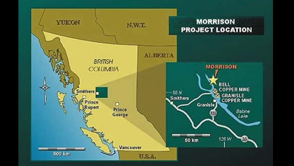 The proposed Morrison Mine is near Lake Morrison, in the Skeens River watershed. British Columbia says its environmental permit is not ready for consideration. (Image courtesy Pacific Booker Minerals)