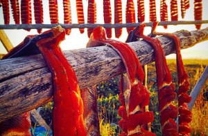 Salmon drying on a fish rack. Photo: KNOM file.