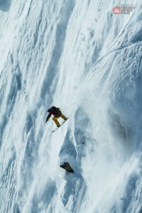 Snowboarder Flo Orley in the Haines competition. (Dom Daher/Freeride Facebook) Shared via KHNS.org.