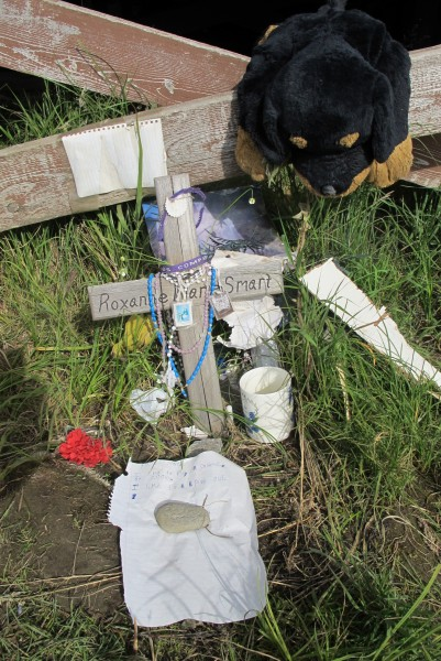 A memorial to Roxanne Smart who was killed in Chevak, August 27th 2014. Photo by Daysha Eaton.