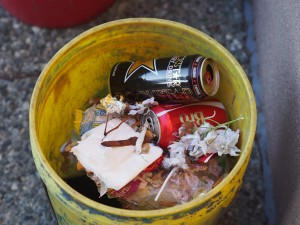Each day, the trash gives a glimpse of what happened the night before. Today the crew removed a bottle of Crown Royal whisky, dime bags, and emergency contact cards from a nearby teen center.