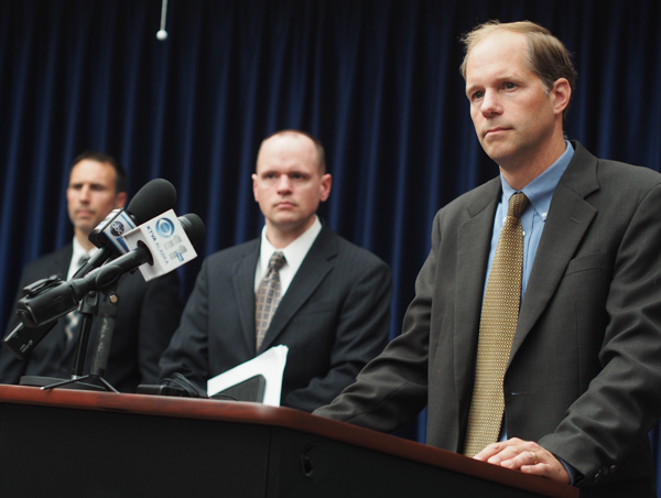 Attorney Kevin Feldis with the U.S. Attorney's Office addresses reporters during a press conference at the FBI's Anchorage Office. (Photo: Zachariah Hughes, KSKA)