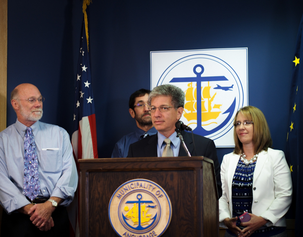 Mayor Berkowitz, center, with his new Homelessness Coordinator, Nancy Burke, standing to his right during Wednesday's press conference. (Photo: Zachariah Hughes, KSKA)