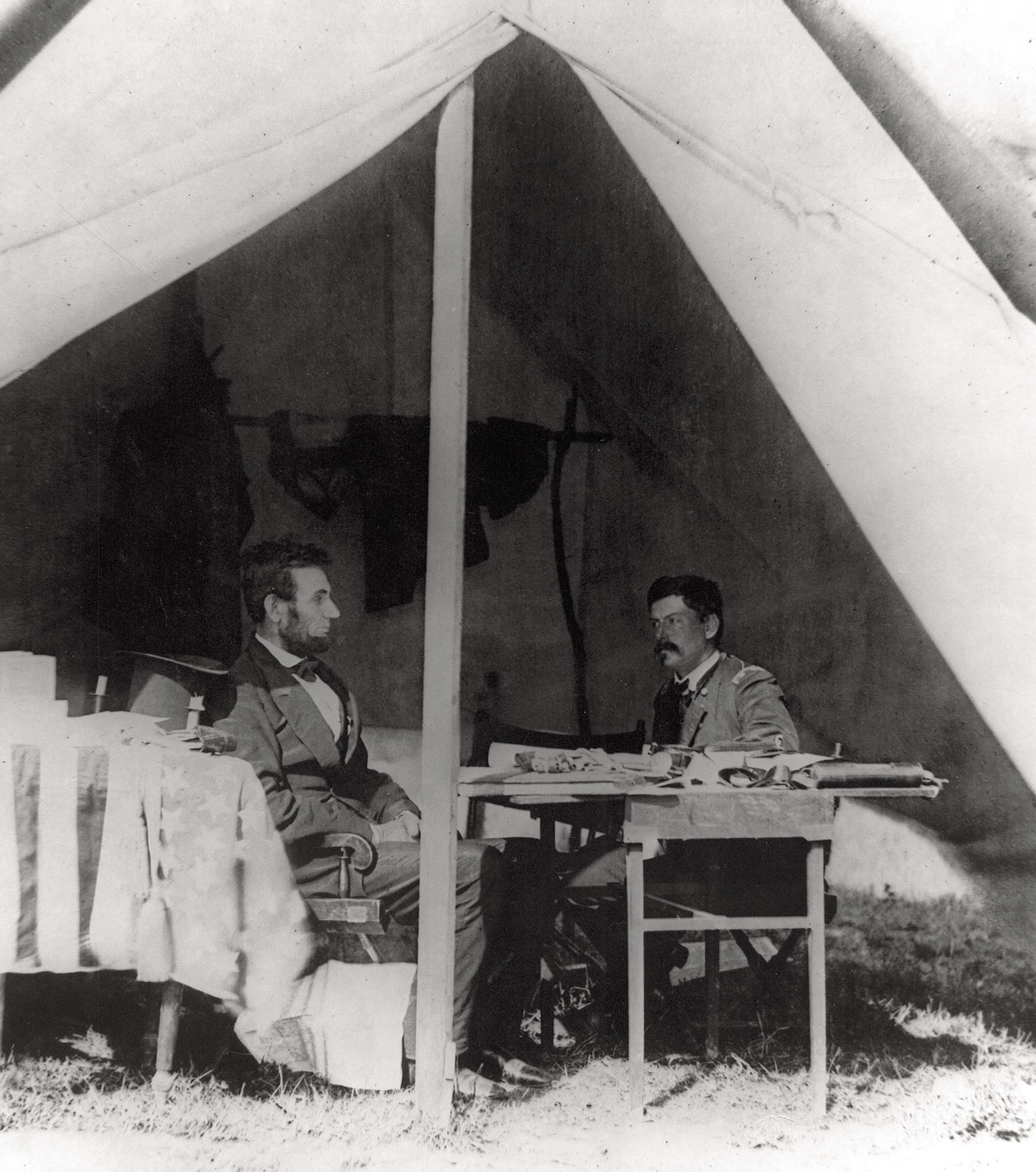 Lincoln and McClellan confer in the generals headquarters tent at Antietam on October 4, 1862. (Photo Courtesy of Library of Congress)