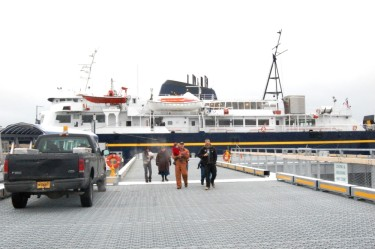 The ferry Aurora docks in Gustavus in 2010. It's now in Ketchikan for hull repairs and its annual overhaul. (Photo by Alaska Department of Transportation)