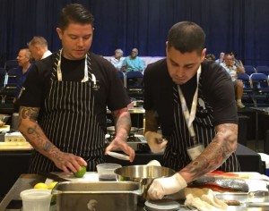 Juneau chef Beau Schooler and sous-chef Travis Hotch at the Great American Seafood Cook-Off in New Orleans. (Photo courtesy Alaska Seafood Marketing Institute)