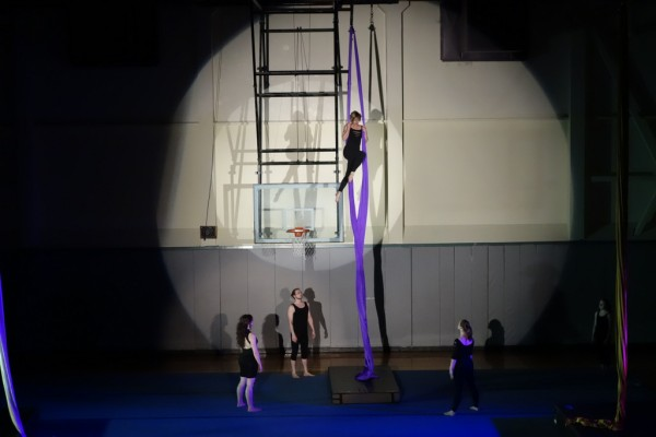 Nearly 100 Sitkans are learning to fly on aerial silks. Sitka Cirque performed before a sold out crowd in May. (Mike Hicks/KCAW photo)