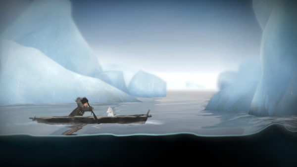 "In ""Never Alone: Foxtales,"" Nuna and Fox navigate on an umiak. They start in the Kotzebue area and eventually find themselves on the Noatak River. (Image courtesy Upper One Games)"