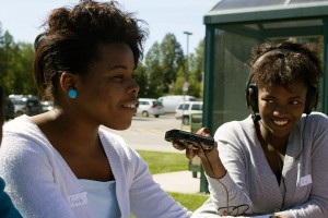 Olive Mtoni records Furaha Sefania outside of UAA. (Photo courtesy of Alaska Teen Media Institute.)