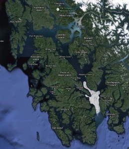 Prince of Wales Island. Screen shot, Google Maps.