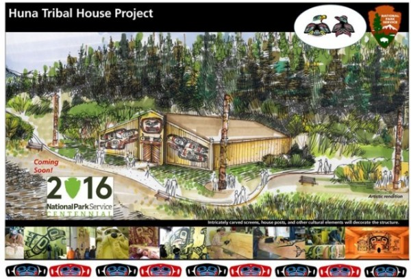 An artist's rendering of the Huna Tribal House. (Image courtesy National Park Service)