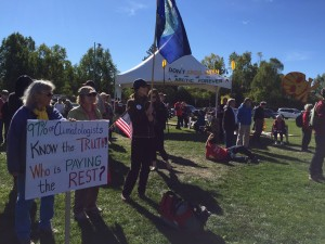 Alaskans gathered to speak out again climate change in downtown Anchorage ahead of President Obama's arrival. Hillman/KSKA