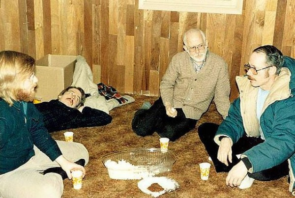 (left to right) Jay Brause, Gene Dugan, Fred Hillman and Les Baird. In 1982, the board members were moving out of the Alaska Gay & Lesbian Resource Center, which closed down. It was later revamped and named Identity, Inc. (Photo courtesy of Melissa Green)