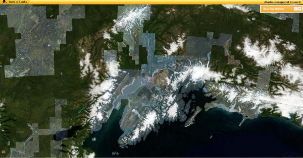 A terrestrial mapping effort reaches its half-way mark. Well-trafficked flight corridors were among the first parts of the state mapped. Photo: screen shot of Alaska Geospatial Council mapping site.