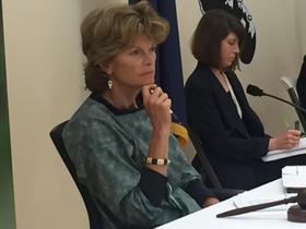 U.S. Sen. Lisa Murkowski listens to testimony Aug. 20, 2015 at a hearing of the U.S. Senate Committee on Indian Affairs hearing she chaired. CREDIT JOAQLIN ESTUS / KNBA 90.3 FM