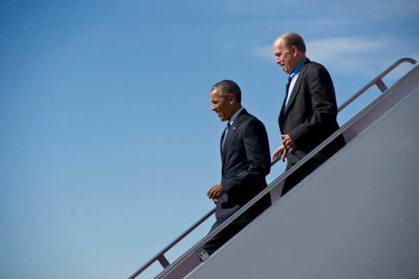 President Barach Obama and Alaska Governor Bill Walker disembark off Air Force One on Monday afternoon. Photo: Marc Lester.