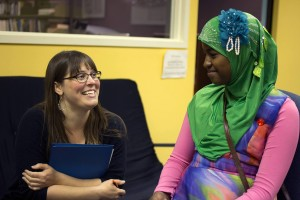 Rosey Robards chats with Iqlas Dubed. (Photo courtesy of Alaska Teen Media Institute.)