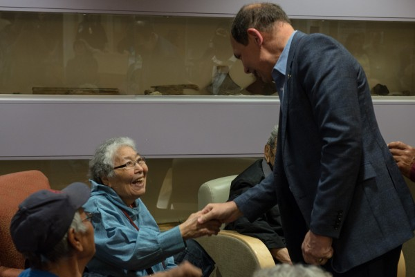 McDonald greets veterans and their family members at the Maniilaq Health Center in Kotzebue. Photo: Mitch Borden, KNOM