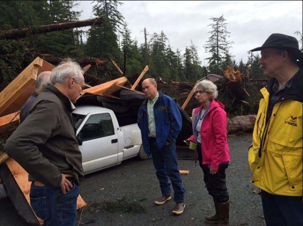 Gov. Walker visited Sitka a day after the fatal landslides. Photo: Governor's office.