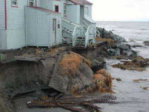 Erosion threatens coastal settlements throughout Alaska. High-quality elevation data is vital to risk assessment and decisions about relocating villages at risk. Photo shared via Alaska DNR.