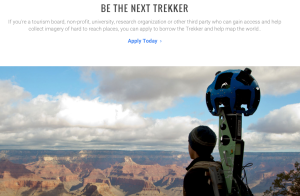 Google Trekker brings Google Maps technology to the trail. Photo: Screen shot of Google Trekker homepage.