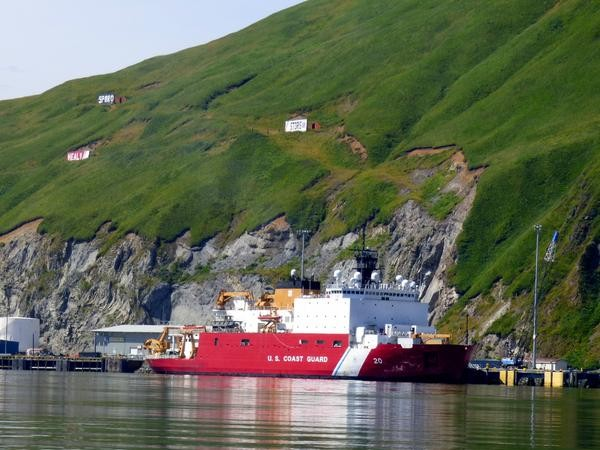 The Coast Guard vessel Healy readies itself for a northward trip in the name of science. Photo: John Ryan/KUCB.