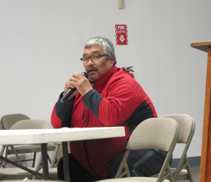 Mike Williams addresses the Yupiit Nation forum. Photo by Ben Matheson / KYUK.