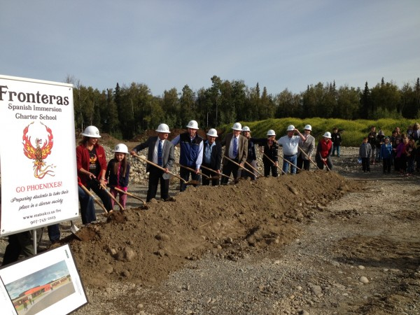 Groundbreaking begins on the Frontera charter school in Wasilla. Photo: Ellen Lockyer, KSKA.