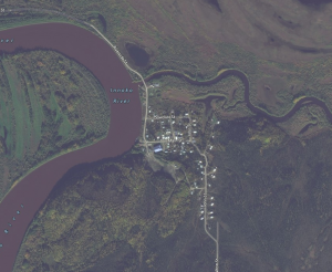 The man jumped from a boat upriver of Shageluk. Image from Bing Maps.