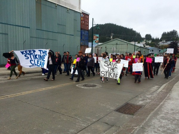 A protest in Wrangell on Sunday, August 2, 2015. (Katarina Sostaric/KSTK)