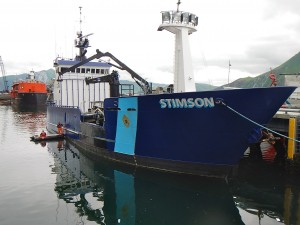 The Patrol Vessel Stimson in Dutch Harbor, Alaska. KUCB/John Ryan photo.