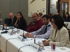 From left to right, experts testifying at the hearing include Alaska Sen. John Coghill; Natasha Singh, Tanana Chiefs Conference; Greg Razo, Alaska Criminal Justice Commission; Jeff Jessee, Alaska Mental Health Trust Authority; and Denise Morris, Alaska Native Justice Center. CREDIT JOAQLIN ESTUS / KNBA 90.3 FM