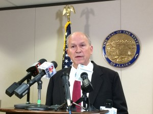 Gov. Bill Walker spoke with reporters on Friday, Sept. 25, defending his proposal for a natural gas reserves tax. (Rachel Waldholz/APRN)